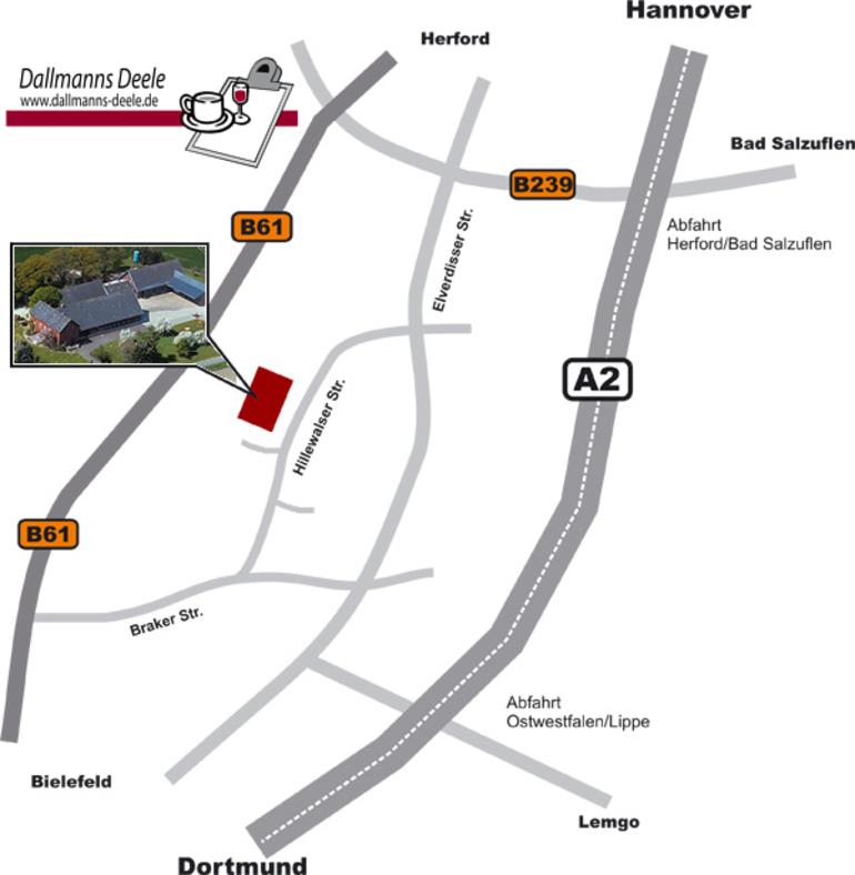 Wegskizze und Anfahrt zu Dallmanns Deele